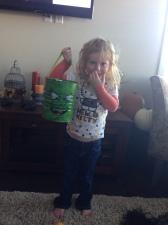 Proud of her bucket